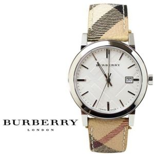 New Burberry BU9025 Check Leather Haymarket Watch